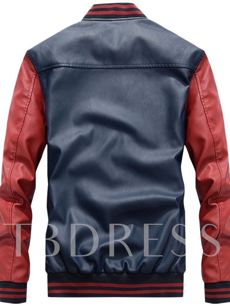 Patchwork Stand Collar Color Block Zipper Men's Jacket