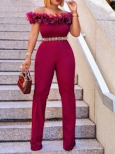 Off Shoulder Plain Full Length Falbala High Waist Women's Jumpsuit