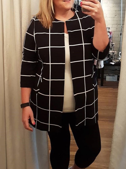 Plus Size Plaid Wrapped Three-Quarter Sleeve Mid-Length Women's Casual Blazer