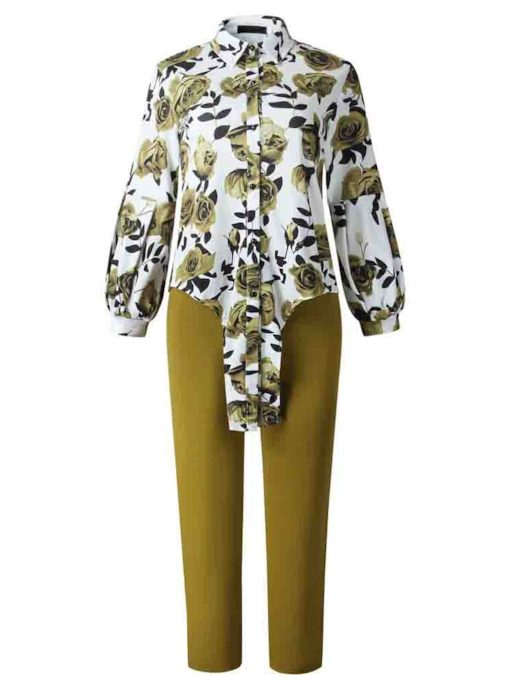 Plus Size Plant Print Shirt Casual Women's Two Piece Sets