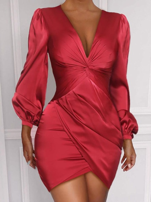 Pleated Above Knee V-Neck Nine Points Sleeve Bodycon Women's Bodycon Dress