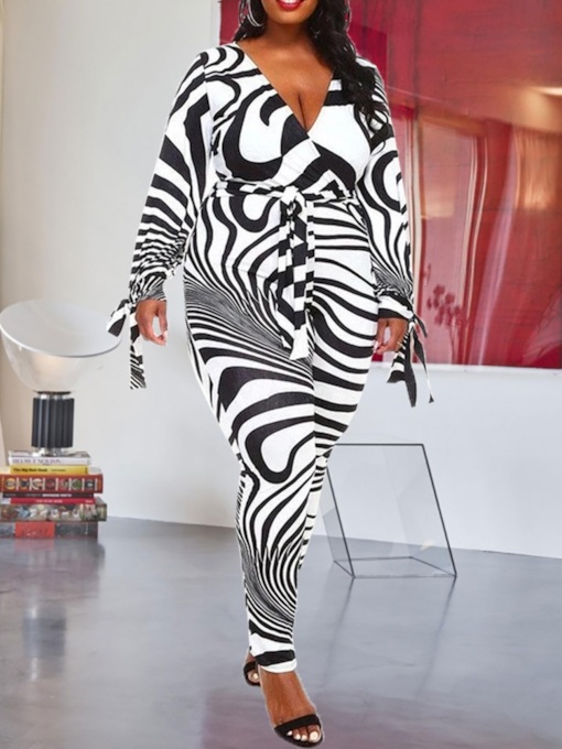 Plus Size Print Full Length Zebra Stripe Slim Women's Jumpsuit