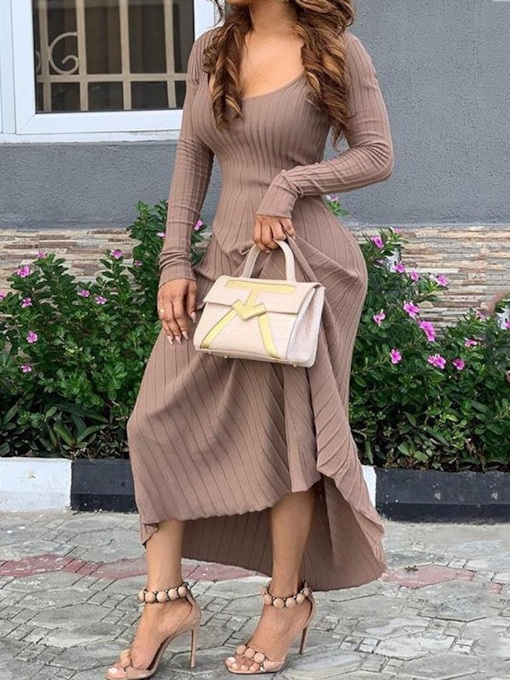 Ankle-Length Long Sleeve Pullover Women's Maxi Dress