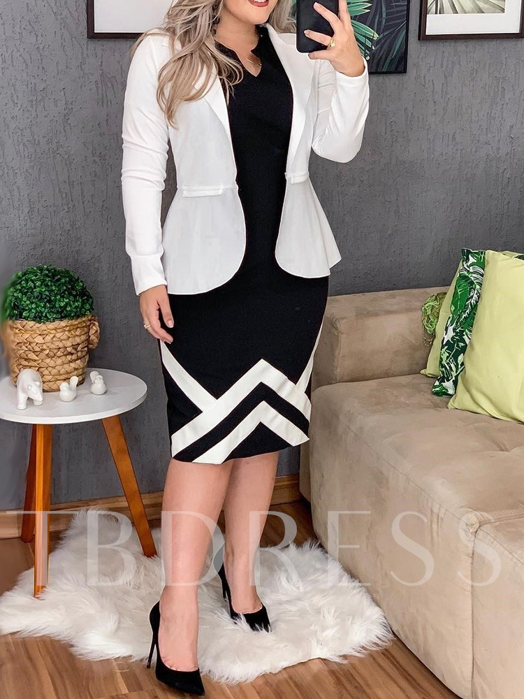 Plus Size Sleeveless Mid-Calf Color Block Women's Dress