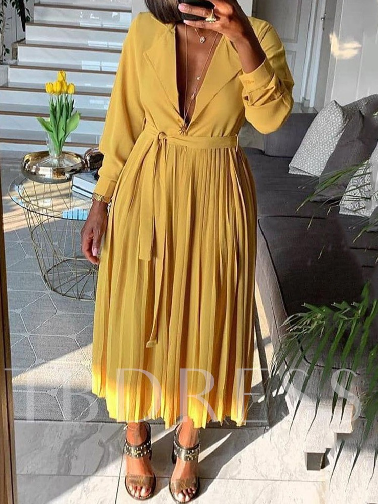 Nine Points Sleeve Notched Lapel Pleated Mid-Calf Date Night/Going Out Women's Maxi Dress