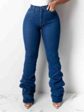 Plain Slim Pleated Women's Jeans