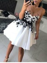 Sheer Straps Appliques White Homecoming Dress 2019