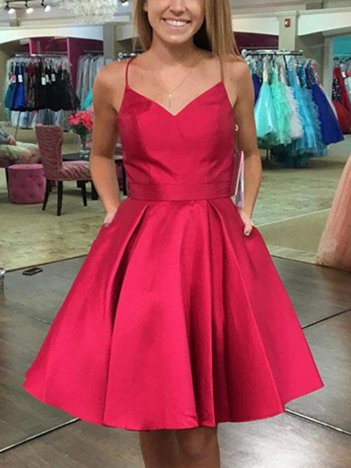 Spaghetti Straps Bowknot Pockets Homecoming Dress 2019