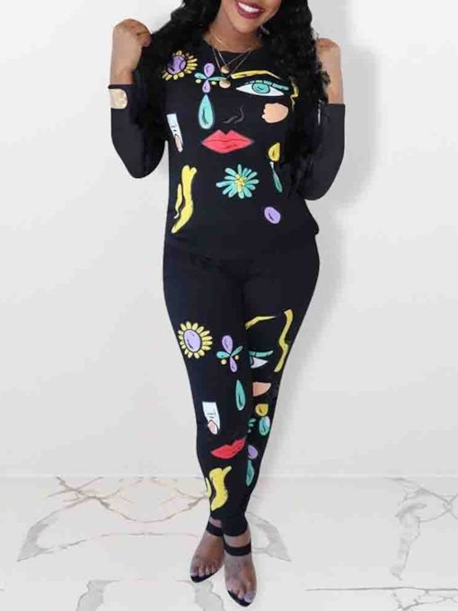 Print T-Shirt Casual Cartoon Pullover Women's Two Piece Sets
