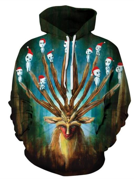 Print Hand Painted Pullover Men's Slim Hoodies