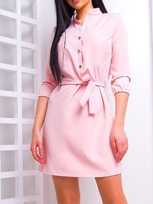 Three-Quarter Sleeve Above Knee Stand Collar Date Night/Going Out Women's Sheath Dress