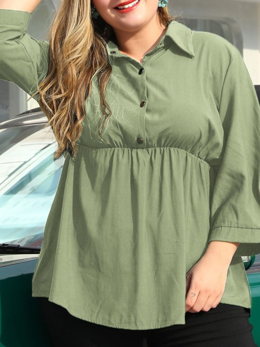 Plus Size Lapel Plain Mid-Length Women's Blouse