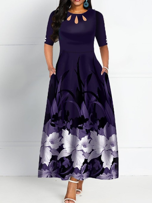 Round Neck Half Sleeve Ankle-Length Print Expansion Women's Maxi Dress