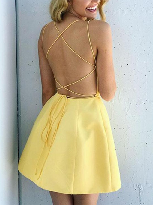 Spaghetti Straps A-Line Backless Daffodil Homecoming Dress 2019