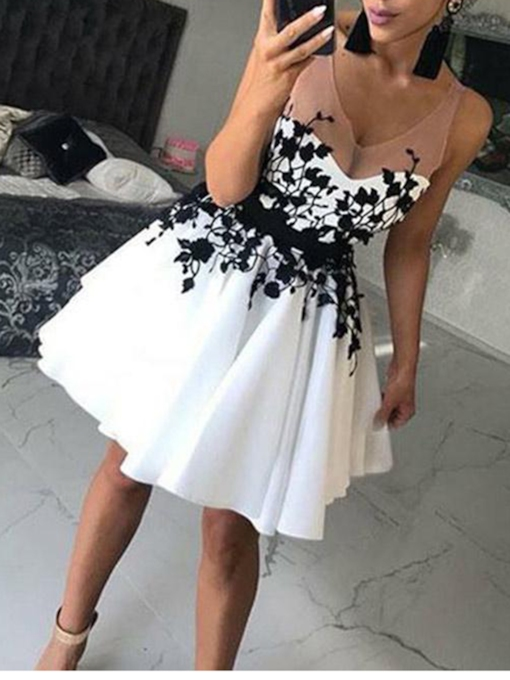Sheer Straps Appliques White Homecoming Dress