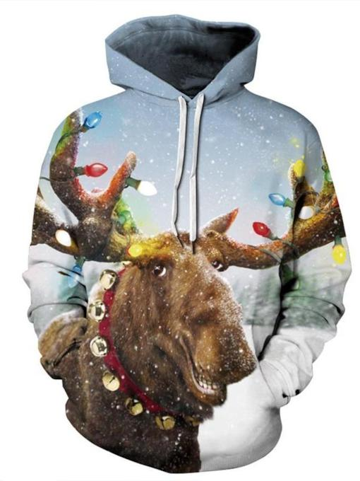 Pullover Print Animal Men's Hoodies