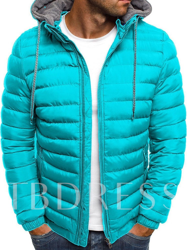 Standard Hooded Zipper Color Block Casual Men's Down Jacket