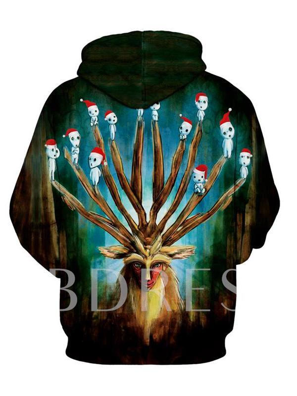 Christmas Print Hand Painted Pullover Men's Slim Hoodies