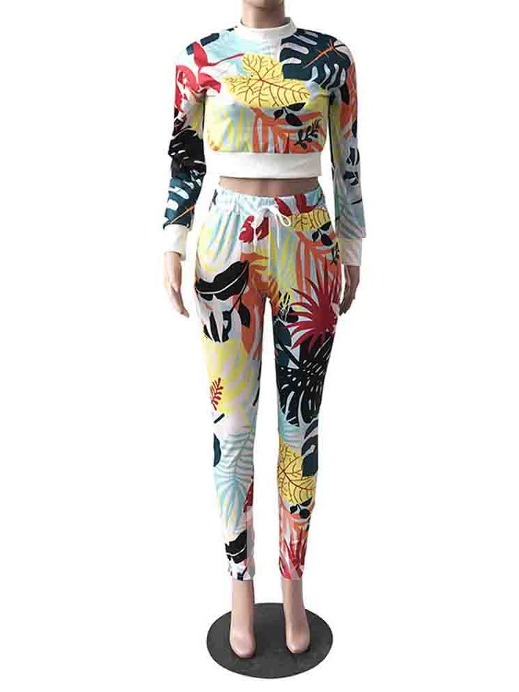 Print Plant T-Shirt Round Neck Women's Two Piece Sets