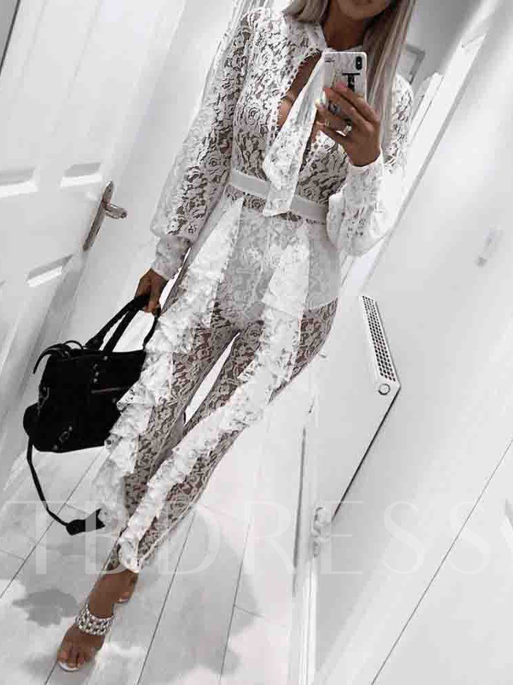Plain Ankle Length See-Through Lace Skinny Women's Jumpsuit