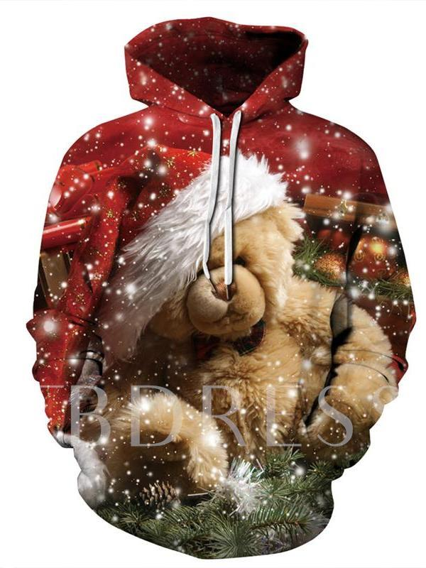 Christmas 3D Pullover Men's Slim Hoodies
