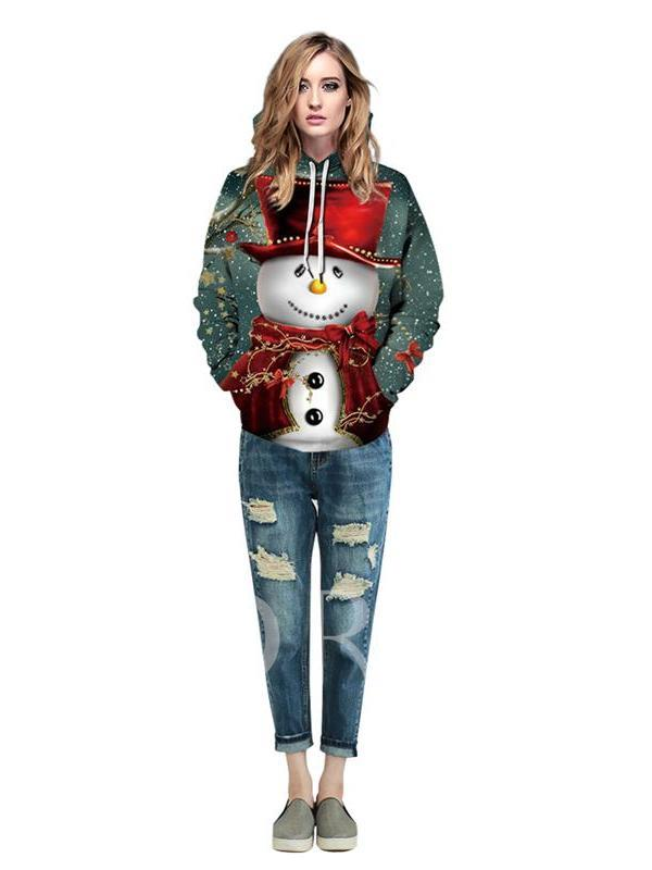 Christmas Cartoon Print Pullover Men's Slim Hoodies