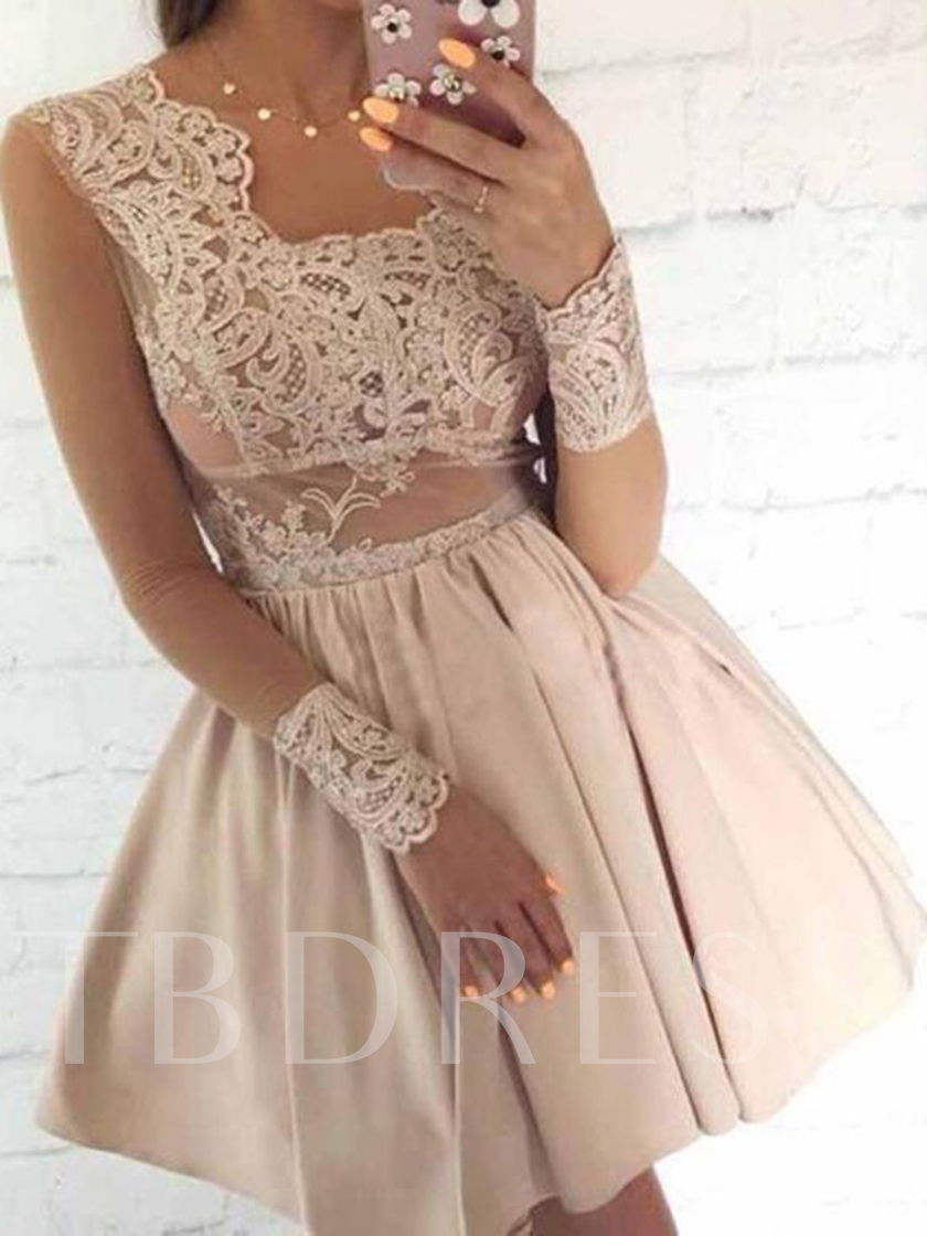 Long Sleeves A-Line Appliques Cocktail Dress