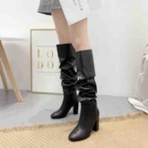Slip-On Round Toe Plain Chunky Heel Knee High Boots