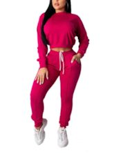 Patchwork Sports Plain Hoodie Round Neck Women's Two Piece Sets