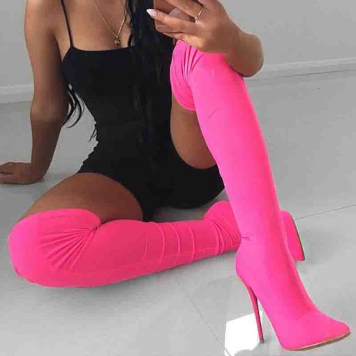 Neon Customized Side Zipper Stiletto Heel Thigh High Boots
