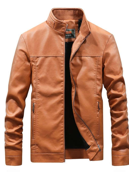 Plain Stand Collar Zipper Men's Jacket