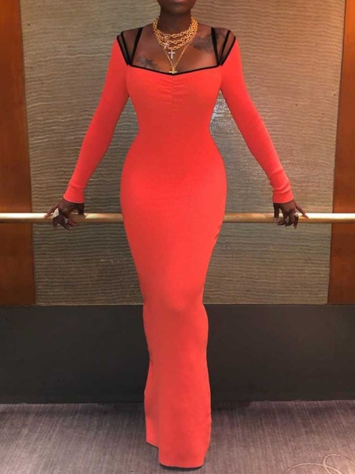 Long Sleeve Floor-Length Spaghetti Strap Women's Sheath Dress