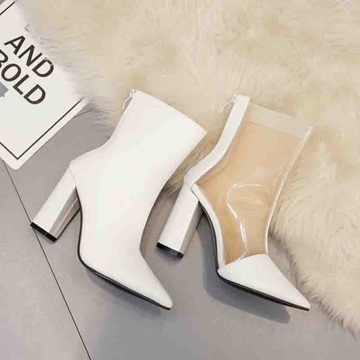 Chunky Heel Pointed Toe Patchwork Back Zip Ankle Boots