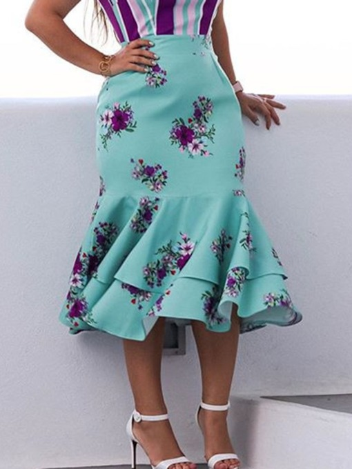 Mid-Calf Mermaid Print Floral High Waist Women's Skirt