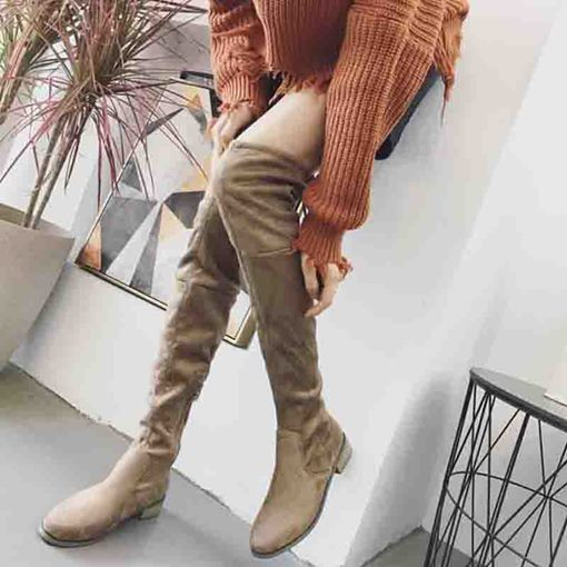 Chunky Heel Round Toe Plain Side Zipper Thigh High Boots
