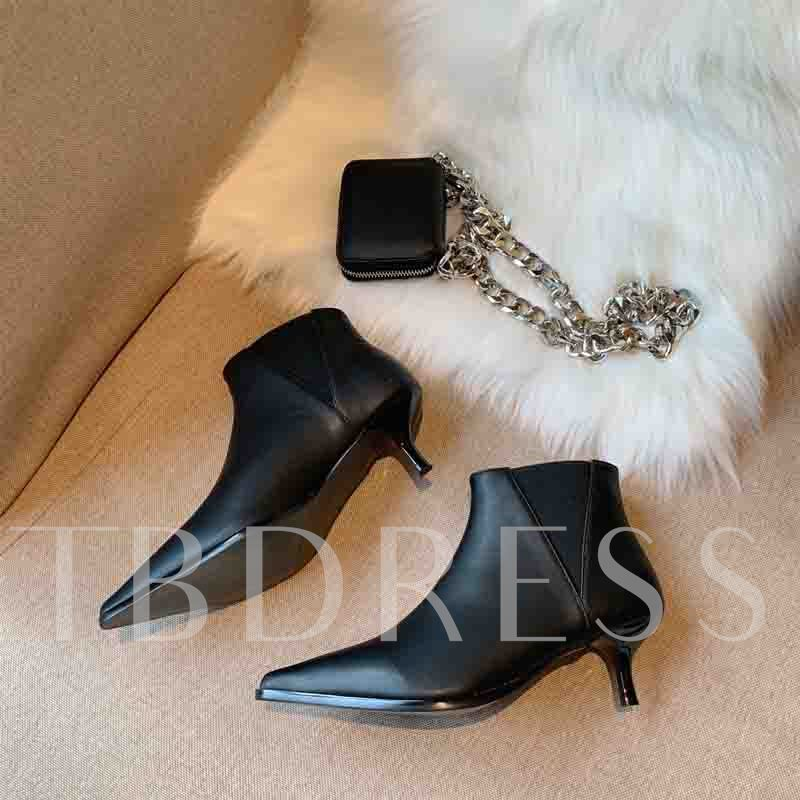 Pointed Toe Color Block Slip-On kitten Heel Ankle Boots
