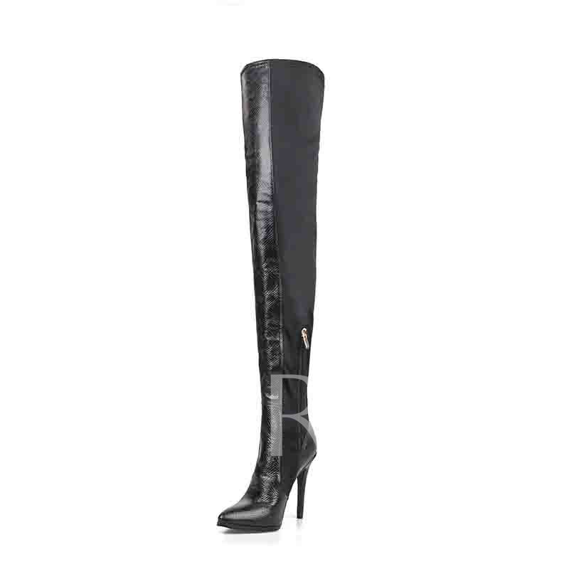 Customized Side Zipper Pointed Toe Stiletto Heel Thigh High Boots