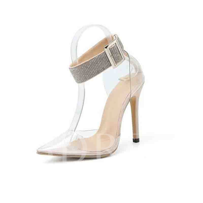 Stiletto Heel Buckle Thread Pointed Toe Banquet Sandals