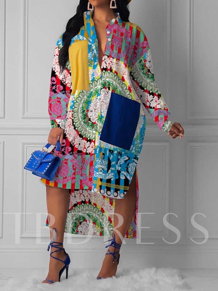 Mid-Calf Lapel Print Mid Waist Women's Long Sleeve Dress