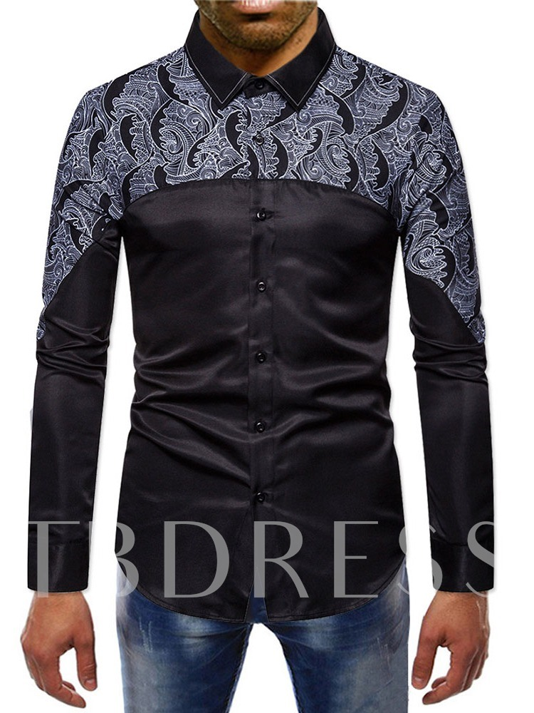 Color Block Lapel Print Spring Men's Shirt