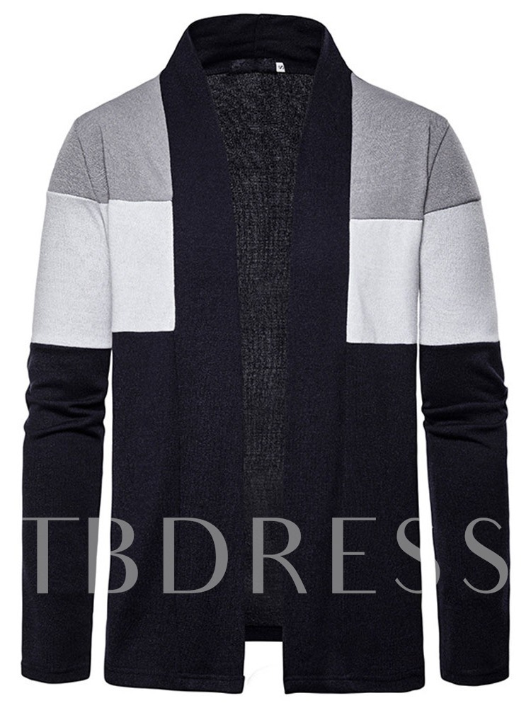 Color Block Standard Patchwork Wrapped Men's Sweater