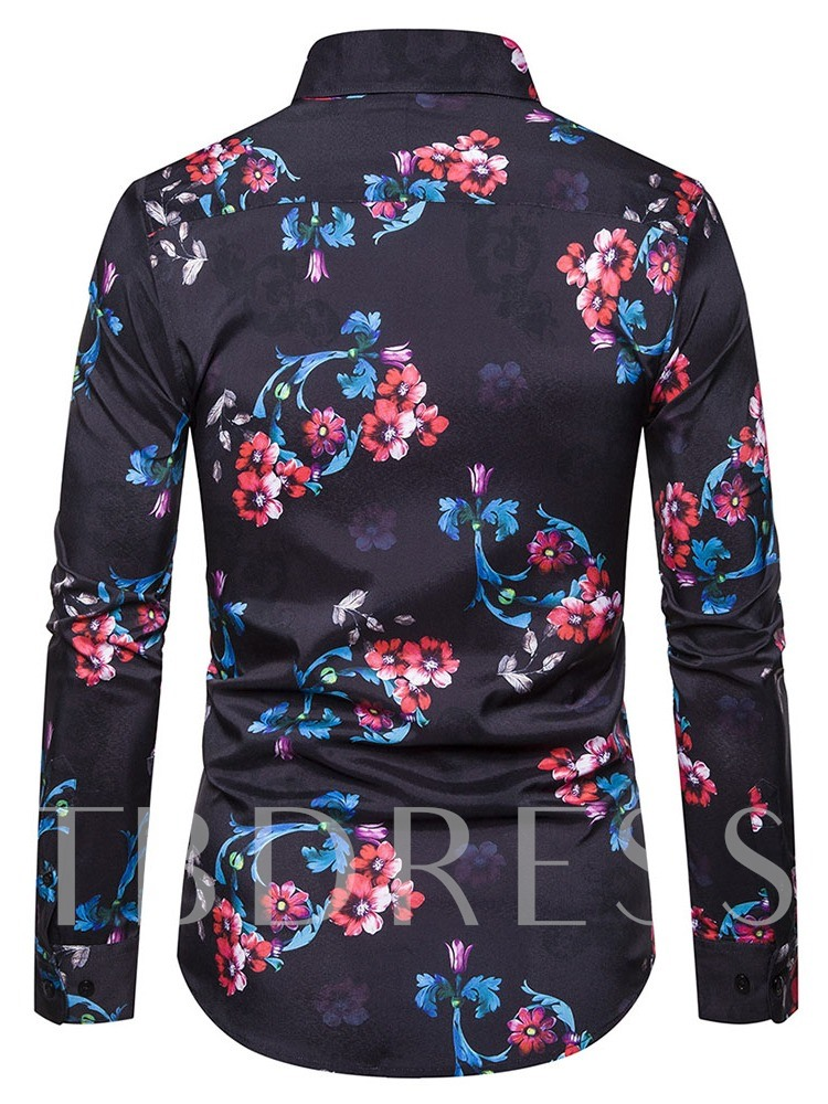 Print Lapel Floral Single-Breasted Men's Shirt