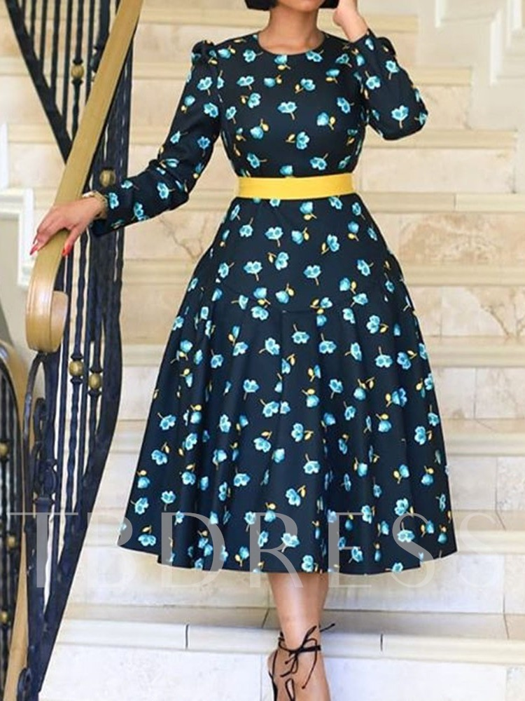 Mid-Calf Nine Points Sleeve Print Round Neck Pullover Women's Day Dress