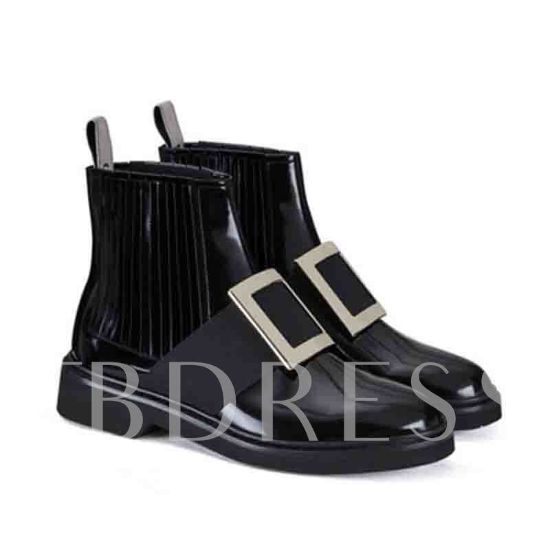 Patchwork Slip-On Round Toe Casual Ankle Boots