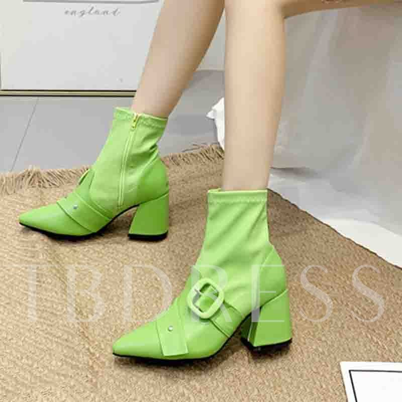 Neon Side Zipper Chunky Heel Plain Pointed Toe Ankle Boots