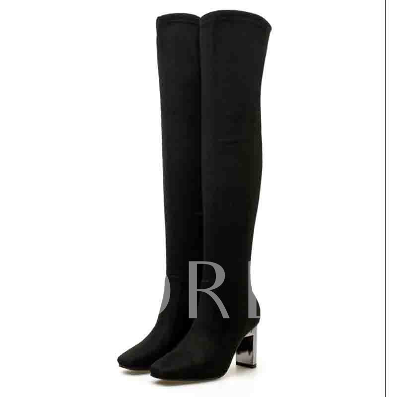Plain Chunky Heel Back Zip Square Toe Zipper Thigh High Boots