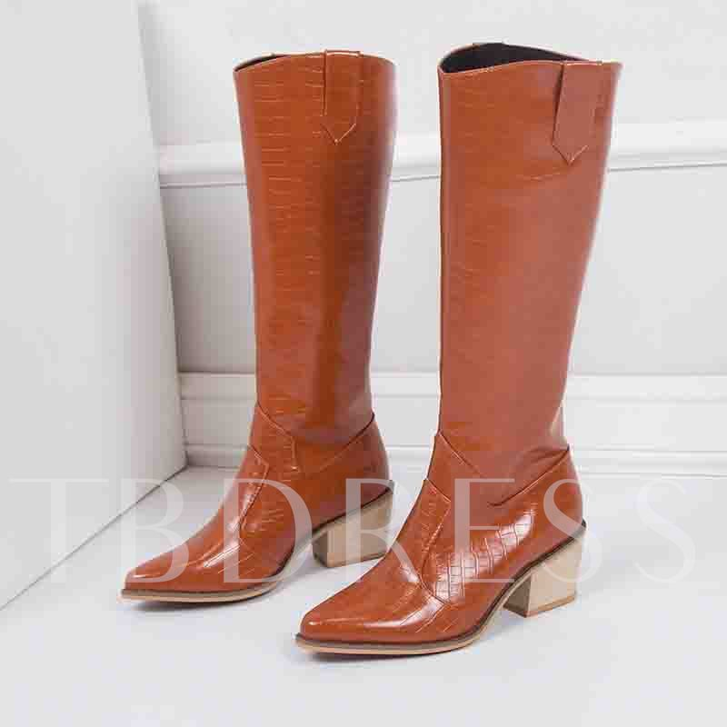 Slip-On Vintage Pointed Toe Chunky Heel Knee High Boots