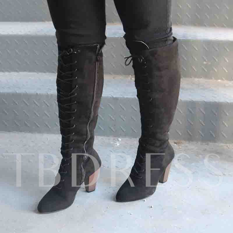Lace-Up Chunky Heel Side Zipper Round Toe Knee High Boots