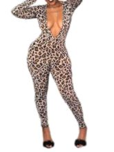Ankle Length Leopard Slim Women's Jumpsuit