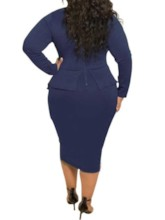 Plus Size Bowknot Mid-Calf Bow Collar Long Sleeve Plus Size Women's Dress